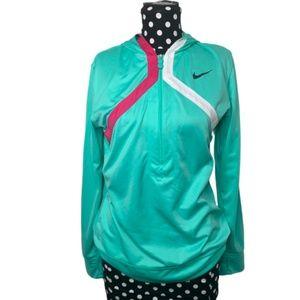 Nike Dri-Fit Quarter Zip Hoodie Teal Size Large